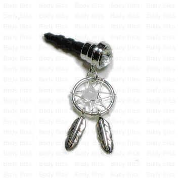 Cute DREAM CATCHER Clear Gem Cell Phone Dust Plug Charm for iPhone Android Mobile