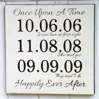 Once Upon A Time Anniversary Date Personalized Wood Sign