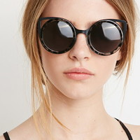 Winged Round Frame Sunglasses