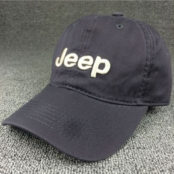Unisex Cotton Solid Color Text Curved Brim Baseball Cap Gray Jeep Hat