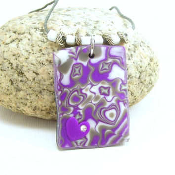 Purple Heart Pendant Necklace / Abstract Art / Polymer Clay Jewelry