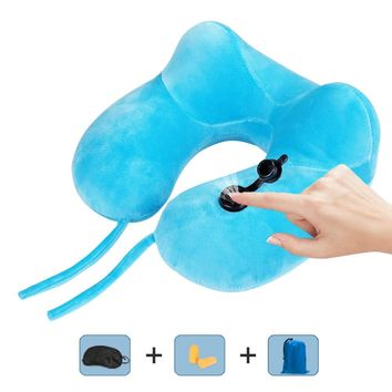 U-Shape Travel Pillow for Airplane Inflatable Neck Pillow Cushion Home Bed Car Decorative Sleep Pillow with Earplugs Eye Mask #A
