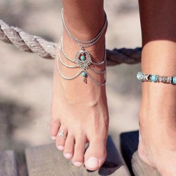 Chains of Wisdom Turquoise Blue Pendants on Silver Upper Arm Bracelet Chain | Cara Collection