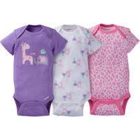 Gerber Newborn Baby Girl Assorted Short Sleeve Onesuits Bodysuits, 3-Pack - Walmart.com