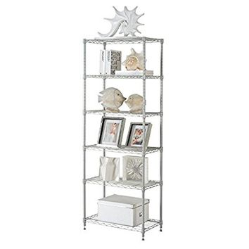 LANGRIA 6 Tier Modern Storage Organization Rack and Shelving Unit with 5 Hooks,Silver