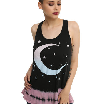 Black & Pink Glitter Tie Dye Moon Girls Tank Top