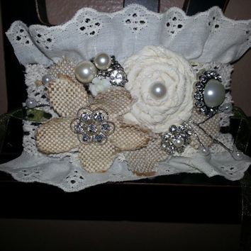 Lace Cuff Wedding Corsage, beautiful lace, pearl, burlap and rhinestone accents! perfect for your rustic or victorian wedding