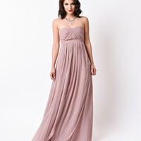 Blush Tan Strapless Chiffon Long Gown 2016 Prom Dresses