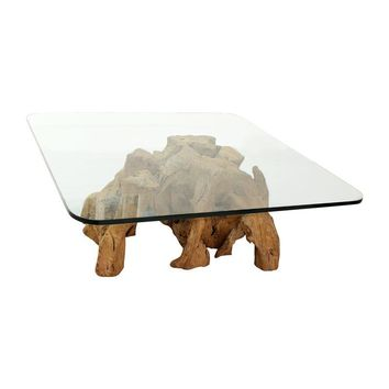 Pre-owned Organic Freeform Solid Burl Wood Coffee Table Base