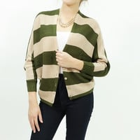 Knitted stripe dolman button up over size sweater cardigan Olive