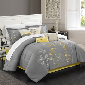 Chic Home 8-Piece Brooke Embroidered Comforter Set, Queen, Turquoise