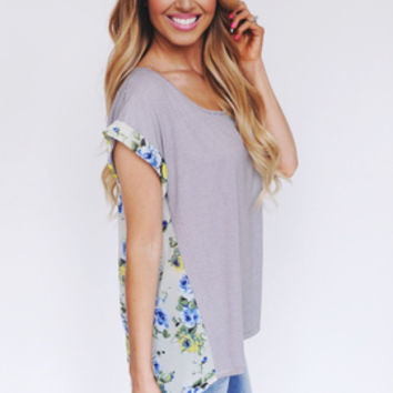 Stripes & Floral Top- Yellow/Blue