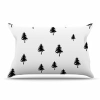 "Suzanne Carter ""Pine Tree"" Black White Pillow Case"