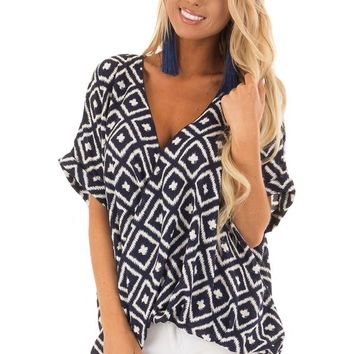 Navy and White Cross Over Front Top with Geometric Print