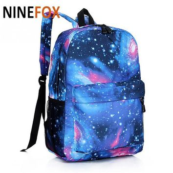 Supreme Multicolor Women Canvas Backpack Stylish Star Universe Space Backpack Girls S