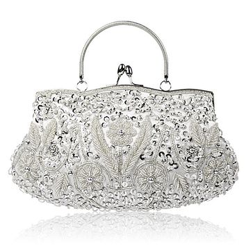 Vintage Handmade Embroidery Woman Evening Bag Wedding Bag Rhinestone Party Clutch Crystal Women's Clutch Banquet Beaded Handbags