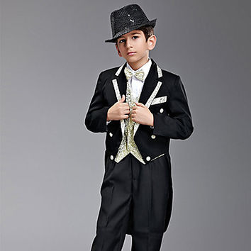 Seven Pieces Black And Gold Swallow-tail Ring Bearer Suit With Two Bow Ties