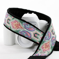 Damask dSLR Camera Strap, Pocket, Replacement strap for Canon Nikon Pentax etc. Teal, Rose, Violet, Mint, SLR, 65
