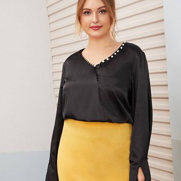 Plus Size Bell Sleeve Faux Pearl Detail Blouse