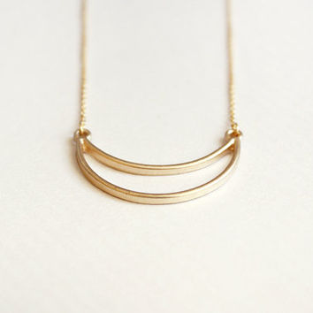 crescent - minimalist gold necklace - dainty modern jewelry