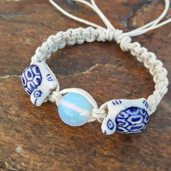 Adjustable Hemp Bracelet, Turtle Bracelet, Opalite Bracelet, Turtle Jewelry, Hemp Jewelry, Handmade Bracelet, Greek Turtle, Gift for Her