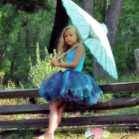 Plum & Turquoise Flower Girl Tutu...Special Occasion, Photo Prop, Wedding...Ruffled Waist...Toddler, Girls Sizes . . . PLUM CRAZY