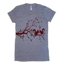 Womens Squirrels In Love T Shirt - American Apparel Tshirt - S M L XL (20 Color Options)