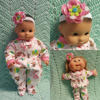 "Baby Doll Clothes to fit 15 inch baby doll ""At the Zoo"" doll outfit with sleeper and headband hair clip Bee giraffe elephant zebra monkey Q1"