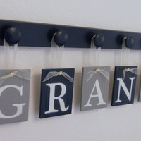 Navy Blue and Gray Nursery Wall Set includes Baby Boy Name GRANT and 5 Wooden Pegs Navy