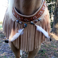 American Indian Style Equine Necklace - Fringed Horse Breast Collar - Faux Suede Horse Necklace - Horse Costume