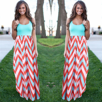 Women Summer Beach Boho Maxi Dress 2017 High Quality Brand Striped Print Long Dresses Feminine Plus Size