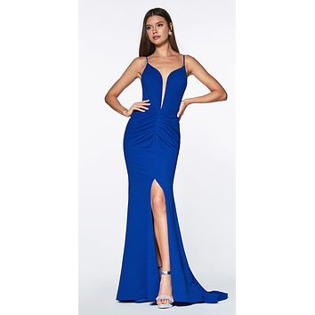 Long Fitted Ruched Mermaid Dress Royal Blue Deep Plunging Neckli cc386f9cb