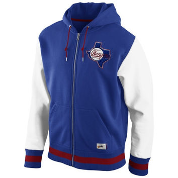 Nike Texas Rangers Varsity Full Zip Fleece Hoodie - Royal Blue