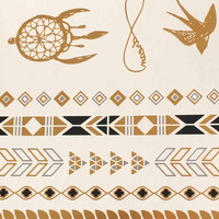 Temporary Tattoo Gilding Transfer Printing Feather Arrow Metallic