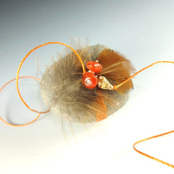 Rust Pheasant Feathers Carnelian Spirit Stone Sculpture Copper Cord