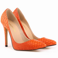Hot Style Pointed Super High Heels Snake Print Shoes