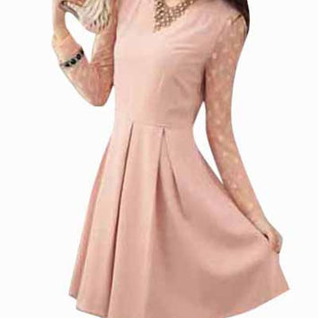 Light Pink Long Sleeve Sheer Lace Pleated Mini Dress