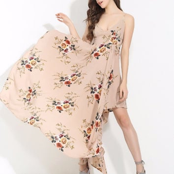 Flow With Me Beige Floral Dress