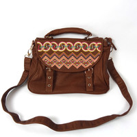 Aztec Embroidery Satchel Handbag - Brown | .H.C.B.