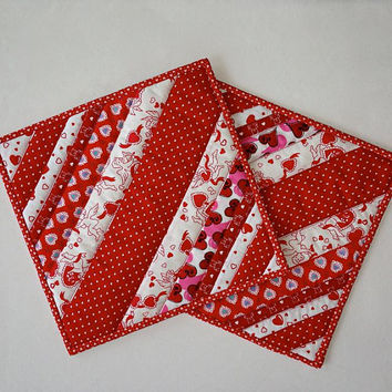 "Quilted Scrappy Valentine Pot Holders / Hot Pads / Trivets / Mug Rugs / Candle Mats  – 9-3/4"" x 9-3/4"" - Set of 2"
