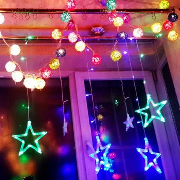 SOLSOLAR Outdoor/Indoor 220V Colorful Stars Curtain Led String lights Christmas Decorations for Home Party Wedding Halloween