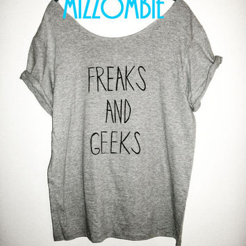 FREAKS and GEEKS off the shoulder loose fit ladies, womens, regular and plus size