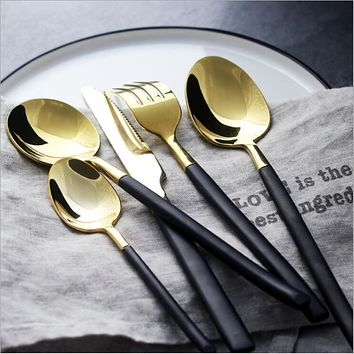 Black Handle Cutlery Set Gold 18/10 Stainless Steel Dinnerware Fork Knife Scoops Silverware Home Tableware