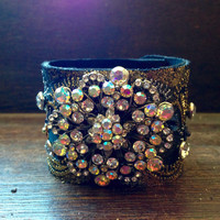 Extravagant Leather Brooch Cuff,  Boho Bracelet adorned with Vintage Brooch, Crystal Rivets, Lace & Sequins,  Avant Gard Leather Bracelet