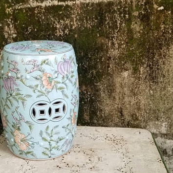 Vintage Famille Blue Tropical Floral Chinese Garden Stool