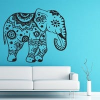 Wall Decal Elephant Vinyl Sticker Decals Lotus Indian Elephant Floral Patterns Mandala Tribal Buddha Ganesh Om Home Decor Bedroom Art Design Interior NS320
