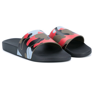 Camo Blue and Red Summer Slides by Valentino