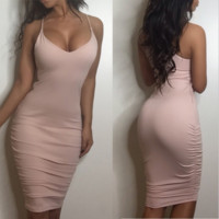 Sexy Strape belt of pure cotton dress color cultivate one's morality