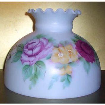 """Satin White Rose Floral Student Lamp Shade - sized 7 1/2"""" Height."""