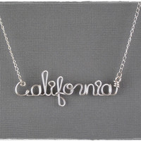 California Wire Word Pendant Necklace